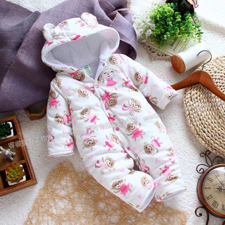 newborn baby boy rompers for spring autumn winter ,infant fleece cotton-padded romper with monkey pattern baby jumpsuits winter ...