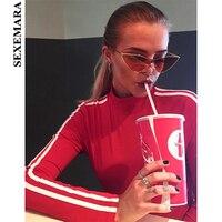 SEXEMARA Side Striped Letter Cropped Hoodies Women Long Sleeve Pullover Sweatshirt Spring 2018 Casual Crop Top