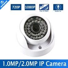 720 P 1080 P Камеры Видеонаблюдения Купольная HD 1MP CMOS 2-МЕГАПИКСЕЛЬНАЯ IP-КАМЕРА камера Аудио WIFI Дополнительный ИК 20 м 3.6 мм Объектива Ик-Крытый Использования Onvif
