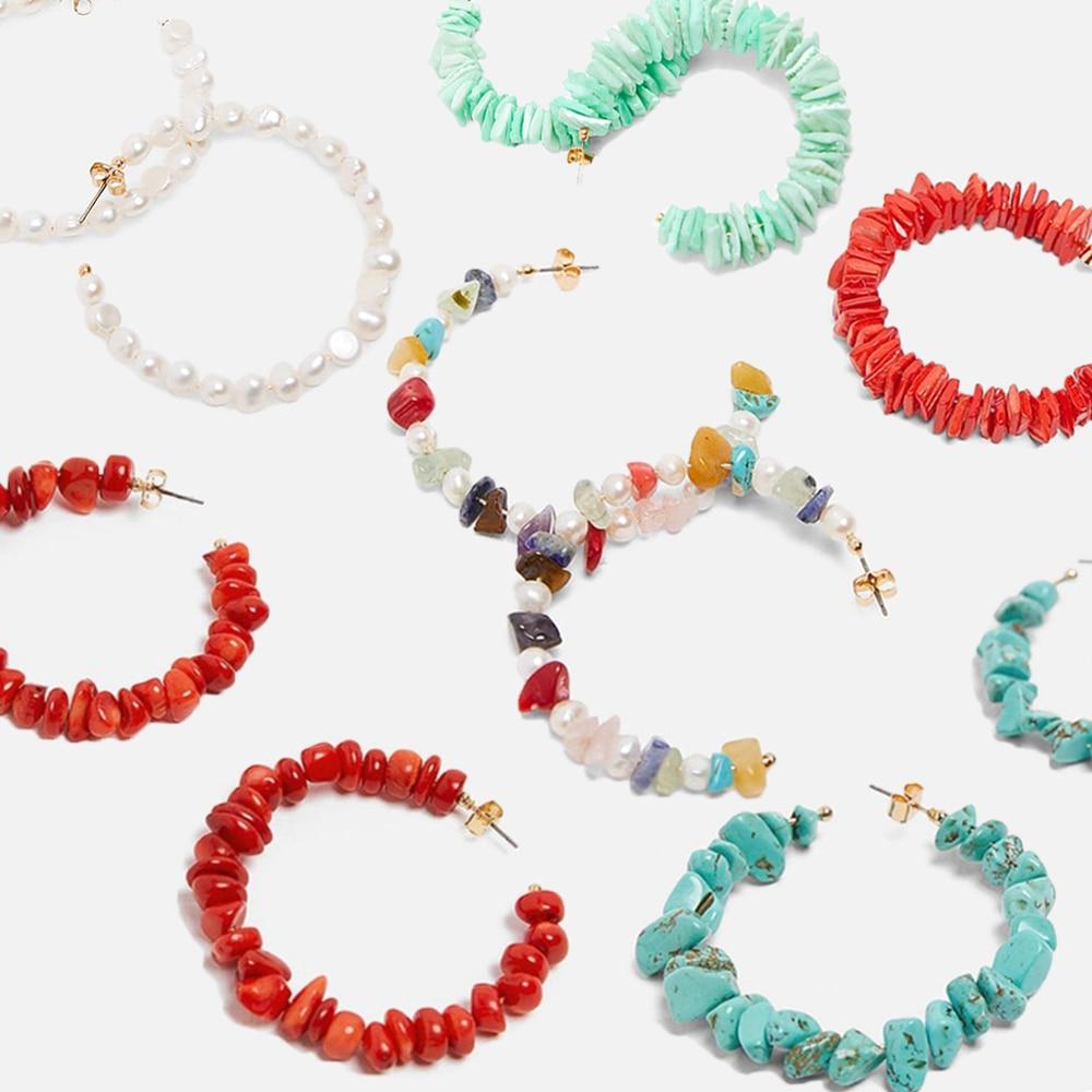 Boucles doreilles en forme de bohémien pour femmes, créoles en alliage avec perles en acétate et pierre naturelle, style ethnique, 2019