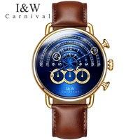 Carnival I&W Quartz Watch Men Leather Strap Mens Watches Magic Design Big Dial Steampunk Waterproof Clock relogio masculino 2018