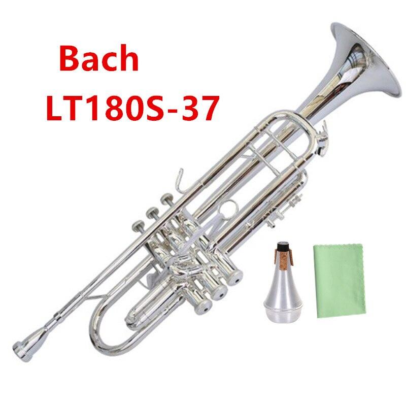 Taiwan Bach LT180S37 Original authentique Double argent-plaqué Bb Professionnel trompette instruments de musique cas Embout En Sourdine