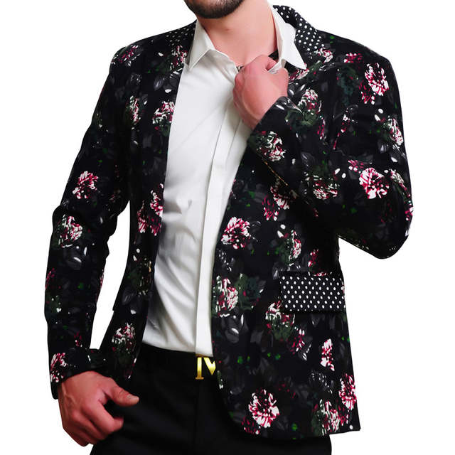 placeholder MOGU 2017 Mens Floral Blazer 100% Cotton Flower Print Blazers  For Men Large Size Slim b1f03bbb79