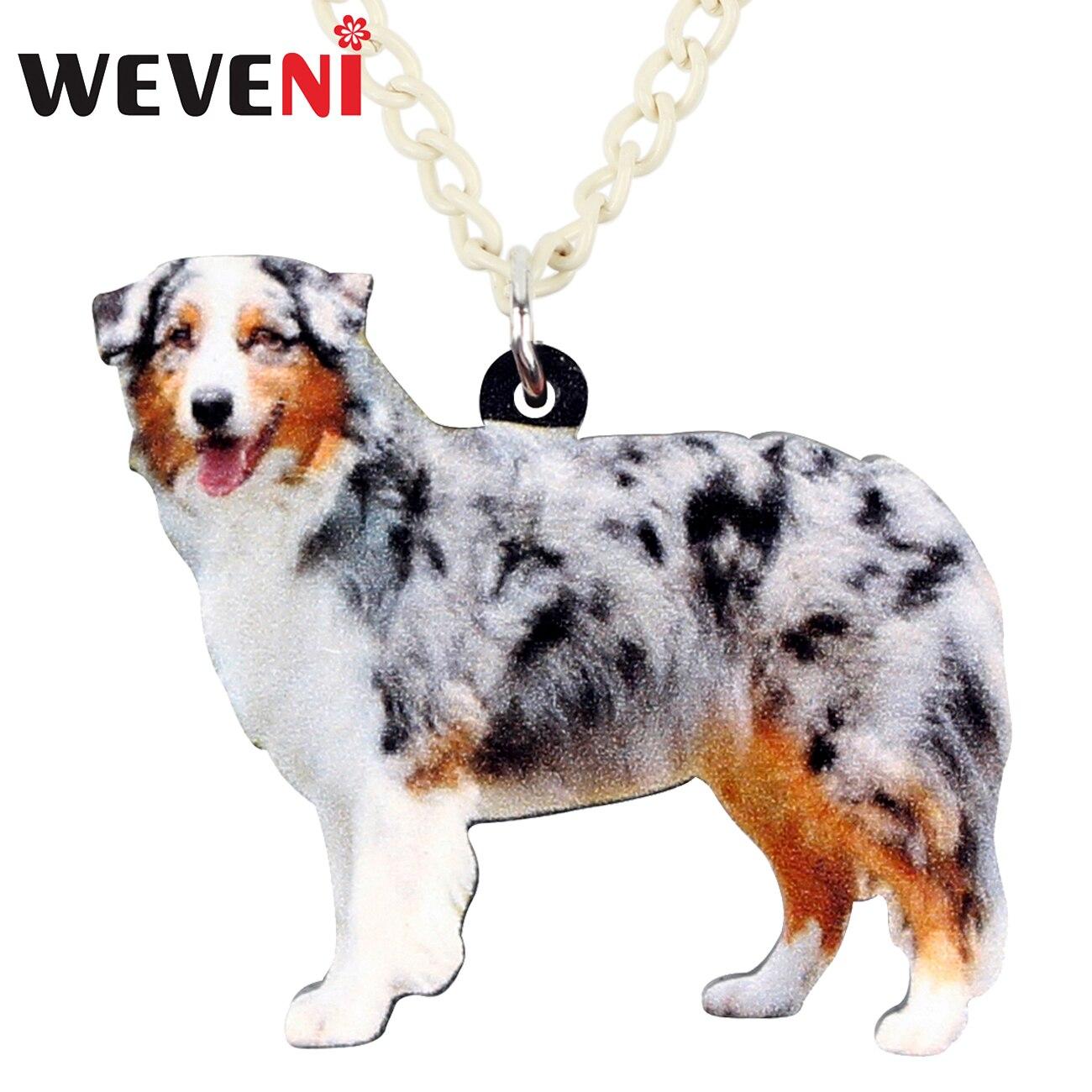 WEVENI Acrylic Happy Australian Shepherd Dog Necklace Pendant Anime Animal Pets Jewelry For Women Girls Gift Dropshipping Bijoux