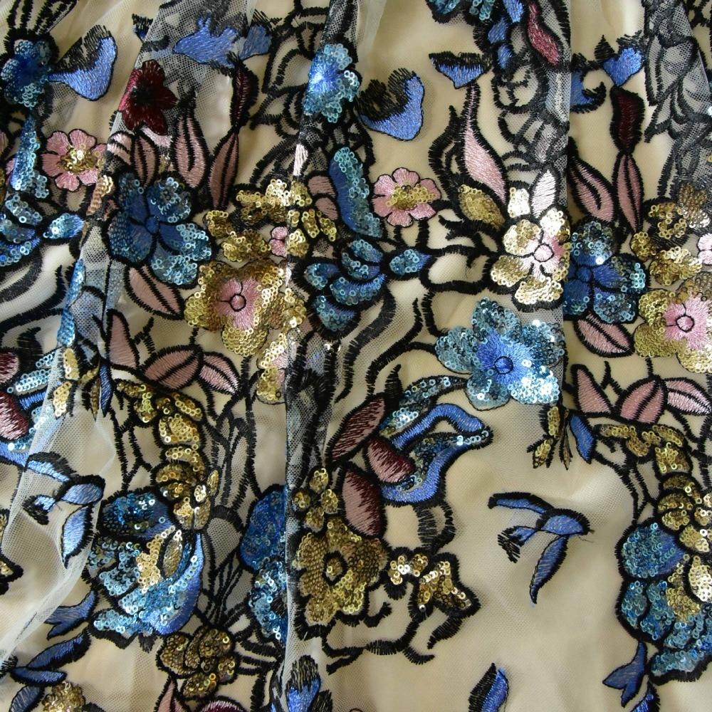 Paillettes Sans Mode Luxe Manches Fleurs V Kenvy De Marque Embroiderey Fête Gamme Mince Robe Haut cou Printemps Élégant Femmes TS1Z1qx