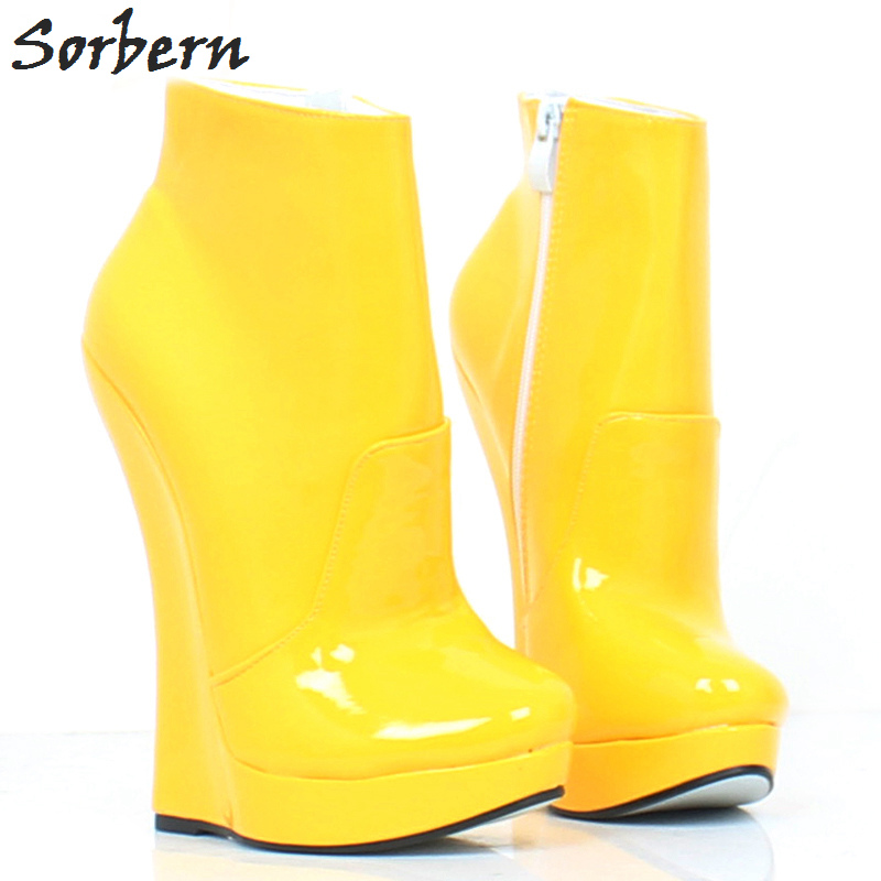 Sorbern 18CM Women Ankle Boots Wedges Shoes Plus Size Buckle Strap Fashion Ladies Unisex Shoes Patent Leather Custom Made Color