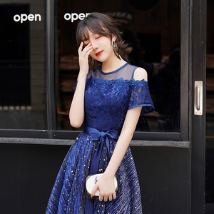 Image 5 - כחול כהה Junior קצר שמלות נשף 2019 אלגנטי צנוע O צוואר כבוי כתף נצנצים שיבה הביתה שמלות Brithday מפלגה שמלה