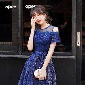 Image 5 - Navy Blue Junior Short Prom Dresses 2019 Elegant Modest O neck Off The Shoulder Sequined Homecoming Dresses Brithday Party Dress