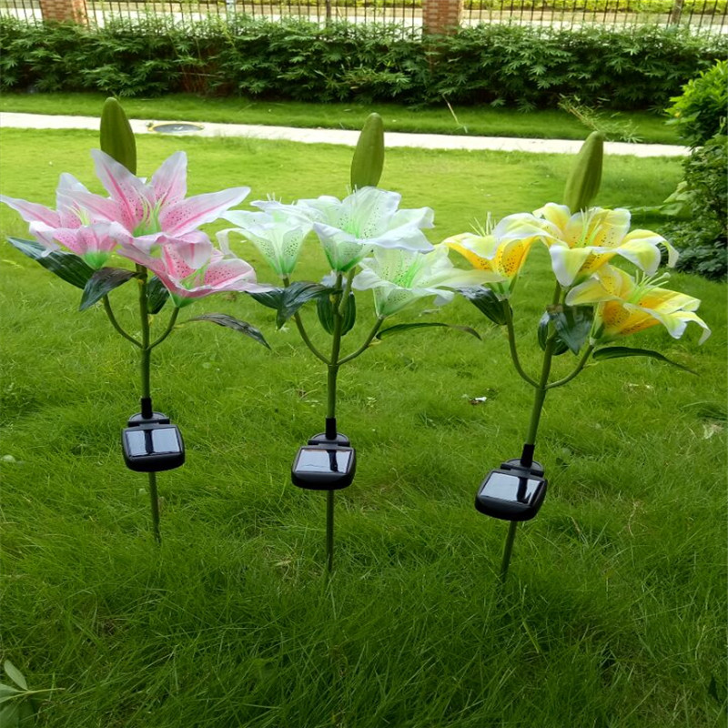 CLAITE Outdoor Solar Power LED Light Lily Flower Lamp For Yard Garden Lawn Pathway Landscape Decorative Night Light