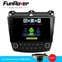Funrover android 8.0 2 din car dvd player for Honda Accord 7 2003 2007 radio video player gps navigation car multimedia stereos