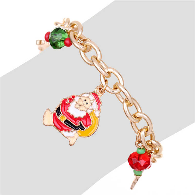 Golden Santa Claus จี้สร้อยข้อมือสร้อยข้อมือสตรีสร้อยข้อมือสาวปาร์ตี้งานแต่งงานเครื่องประดับสำหรับหญิงสาวคริสต์มาสของขวัญ
