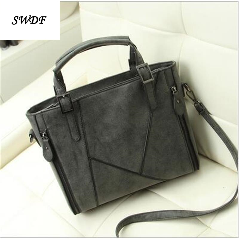 2016 Women Fux Suede Tote Bags Big Solid Patchwork Splice Messenger Bag For Women PU Leather