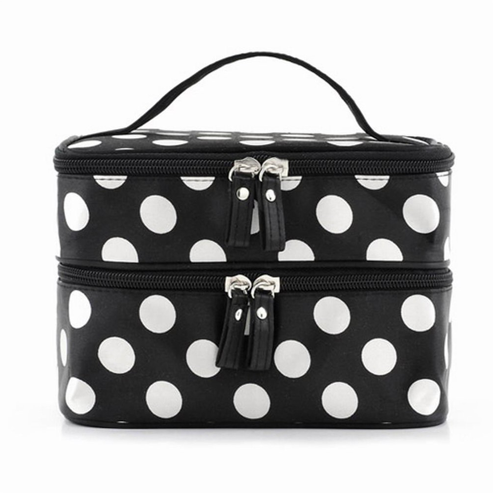 Womens makeup suitcaseBlack Travel Cosmetics Make Up Bags Beauty Womens Organiser Toiletry Purse Handbag Polka Dots Design Gift