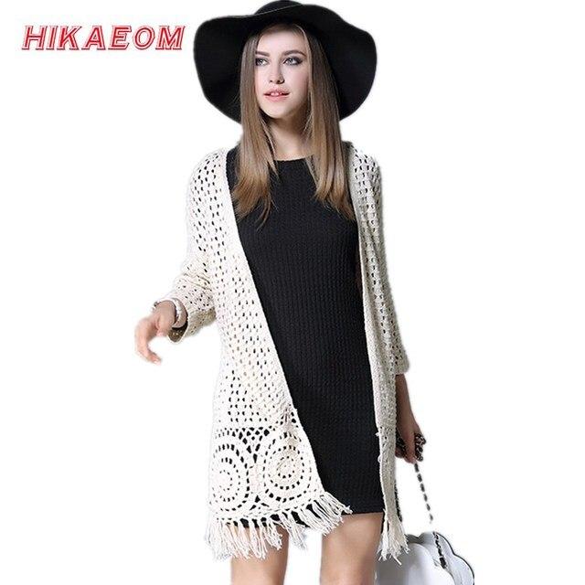 b51b4543412 Crochet Tassel cardigan oversized long sleeve fringe Women s new autumn and  winter knit long cardigan women plus size long coat
