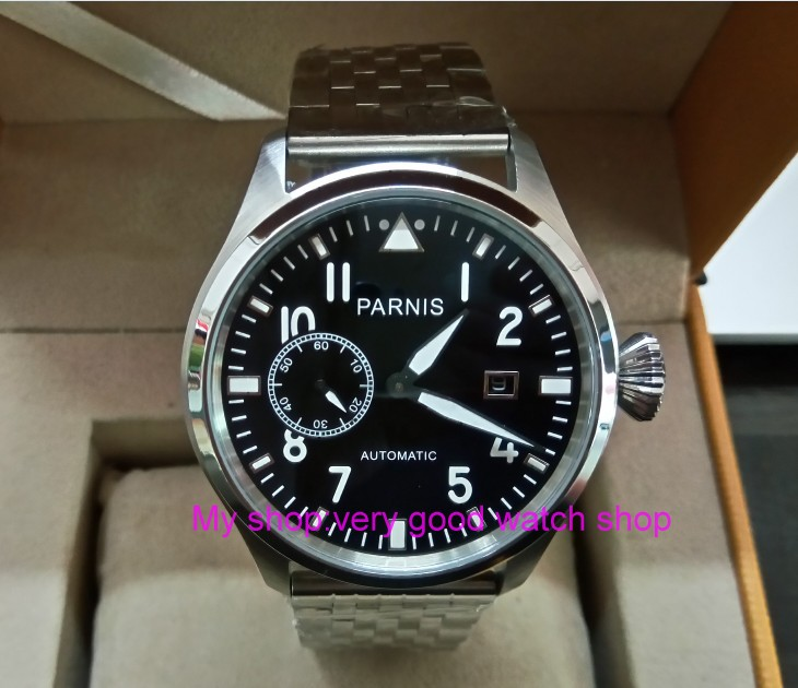 47mm big pilot PARNIS Black dial Automatic Self-Wind movement Auto Date men watches luminous Mechanical watches df132A