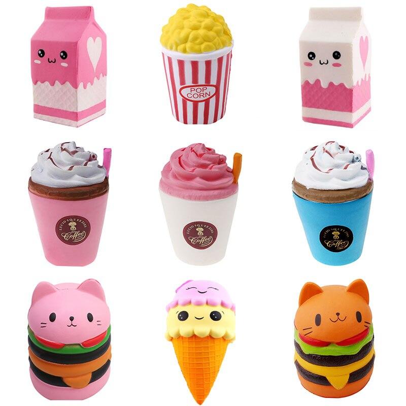 2018 Jumbo Squishy Toys Children Slow Rising Antistress Toy Cat Hamburger Fries Squishies Stress