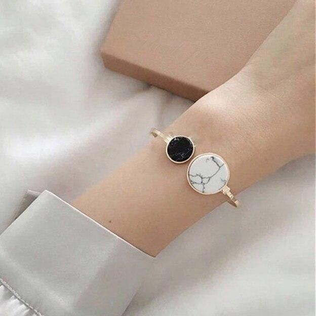 2017 Trendy Simple Classic Asymmetry Black White Marble Faux Stone Bracelets Ban