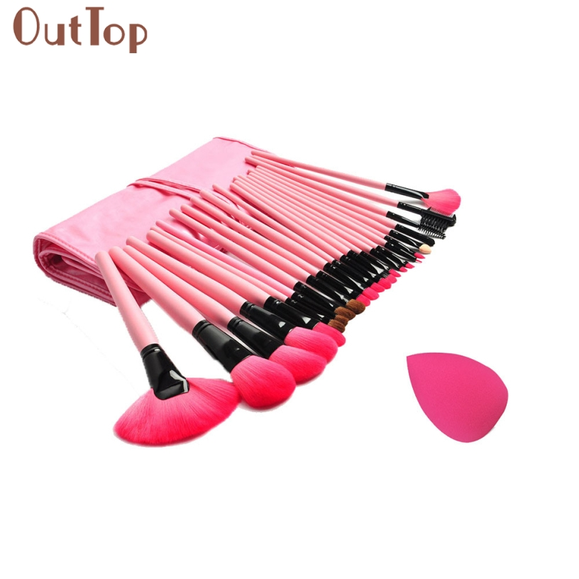 OutTop Best Deal New Good Quality Pink Colour Sponge Puff + 24 PCS Cosmetic makeup brushes Foundation Brushes Tool 1 Set candy color calabash shaped cosmetic makeup cotton pads sponge puff pink