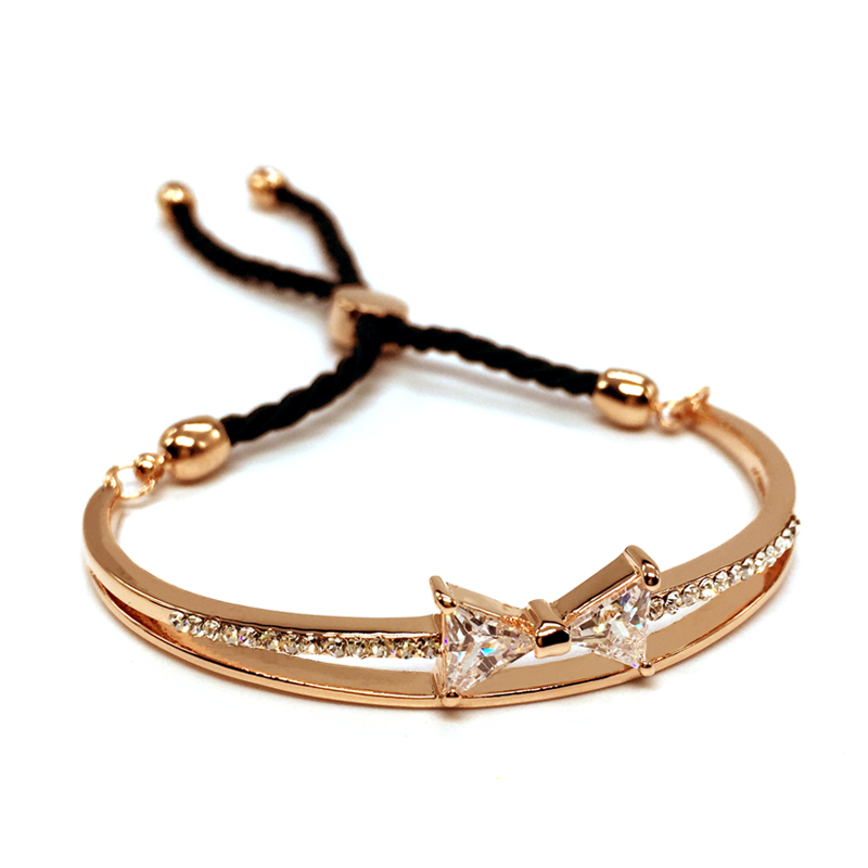 AAA Cubic Zirconia Bow Bracelets & bangles European Style Summer Jewelry Classy Popular Rose Gold Colour Adjustable Bangle OpenAAA Cubic Zirconia Bow Bracelets & bangles European Style Summer Jewelry Classy Popular Rose Gold Colour Adjustable Bangle Open