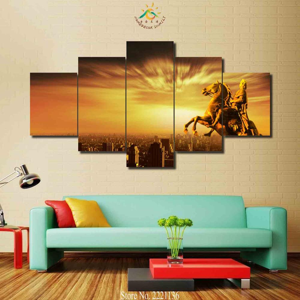 3 4 5 Pieces Riding Horse Status Modern Wall Art Canvas Printed ...