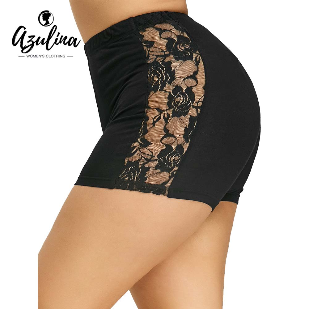 AZULINA Plus Size Lace Insert Black   Shorts   Bottoms 2018 Mid Waist Skinny   Shorts   Casual Women Pencil   Shorts   Big Size 5XL Bottoms