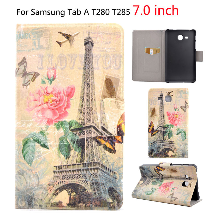 2016 New Leather Case For Samsung Galaxy Tab A a6 7.0 inch T280 T285 SM-T280 Cover Cases Tablet Painted protector Funda Shell аксессуар чехол samsung galaxy tab a 7 sm t285 sm t280 it baggage мультистенд black itssgta74 1