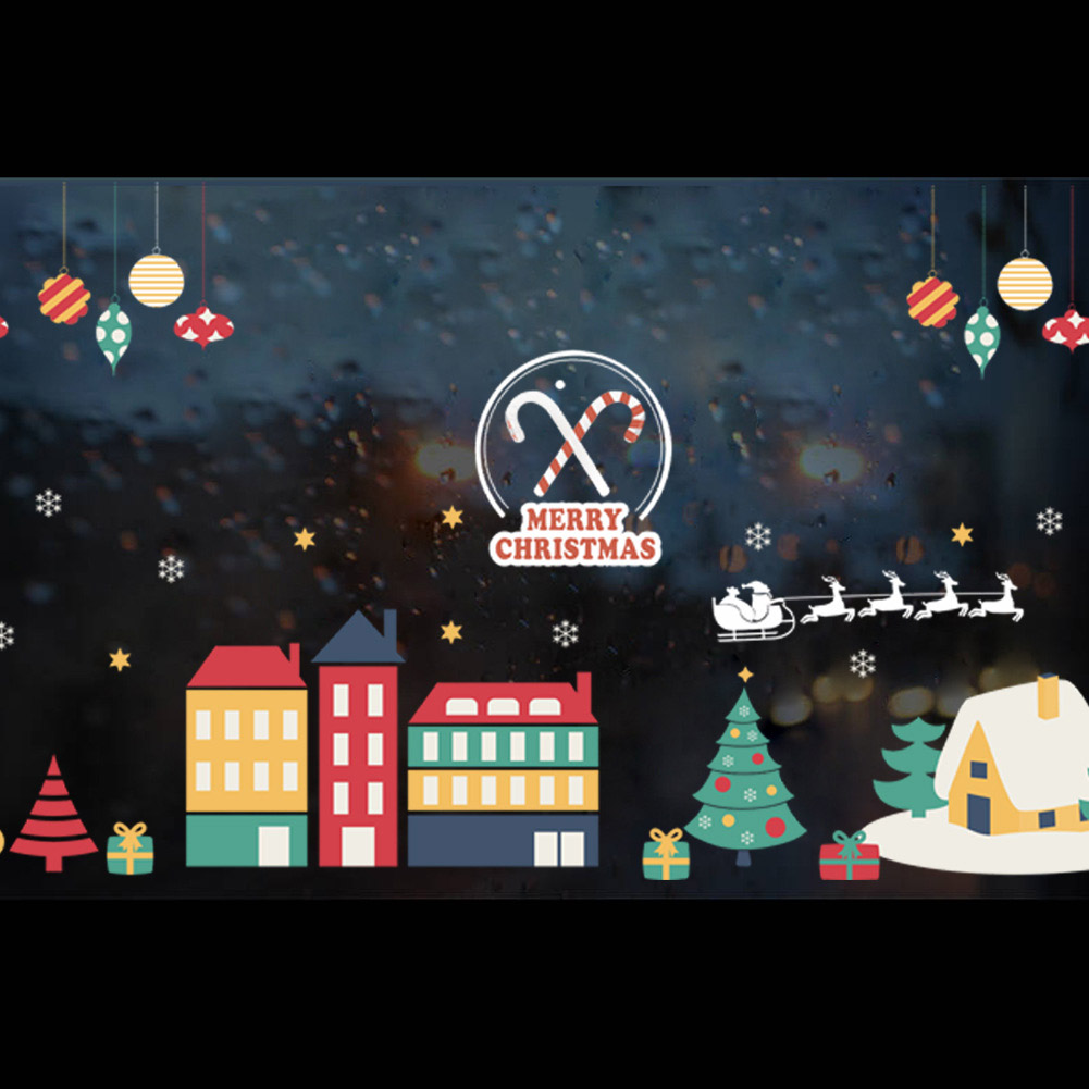 Christmas Village Decoration Winter Snow City Wall Sticker Decals Window Party Decoration New Year Home Decor Poster Mural