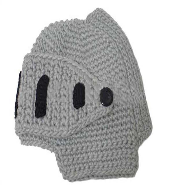 f4c4e7096a2 2018 Novelty Knitted Warm Children Cap Roman Knight Helmet Caps Kids  Handmade Winter Hat Mask Beanies