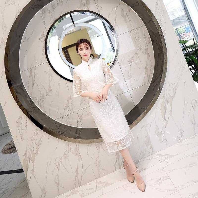 S Moderne Orientales Nouveau Qipao De Style Cheongsam 1 Kleid Chinesisches xxl Dentelle Robes Femme Longue Chinois Robe xTSz6qw