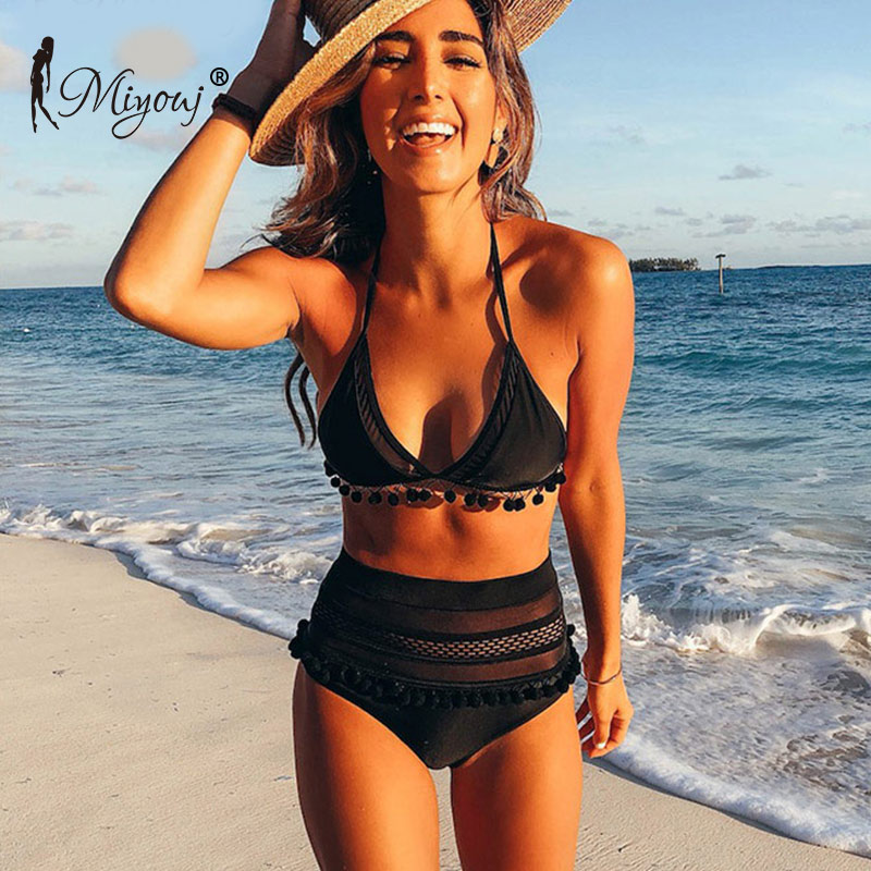 цена Miyouj Lace Side Bikini 2018 Swimwear Women Swimsuit High Waist Bikini Set Sexy Biquini Female Push Up Beachwear Bathing Suit в интернет-магазинах