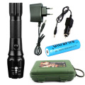 Rechargeable LED Flashlight torch cree XM-L2 3800 lumens  zoomable Black Aluminum LED tactical flashlight with 18650 Gift Set