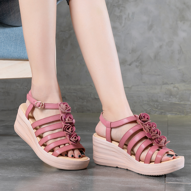 VALLU Cross Strappy Wedge Shoes For Women 2018 100% Genuine Leather Female Sandals Sweet Floral Summer Handmade Lady Hot Shoes
