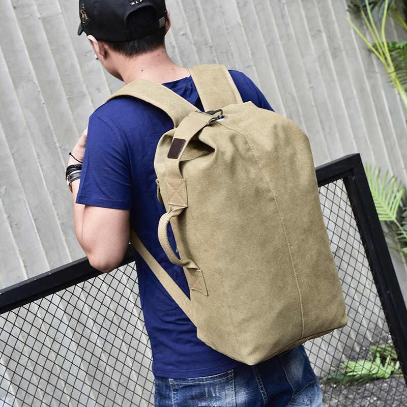 ... 2018 Large Capacity Rucksack Man Travel Bag Mountaineering Backpack  Male Luggage Boys Canvas Bucket Shoulder Bags ... 9820bdbbd494c