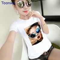 New Summer Coréenne T-shirt Femmes Mode Casual Manches Courtes O-cou Slim Coton T-shirts Cool Fille Tissu Tête Image Imprimé T-shirts