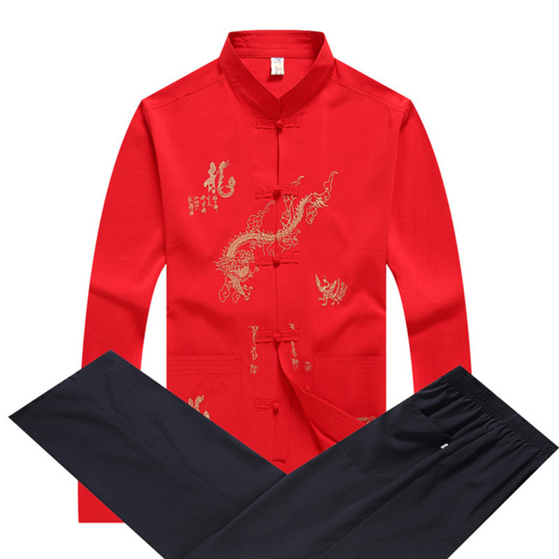 Long Sleeve Men Shirt&Pant Chinese Traditional Mandarin Collar Kung Fu Set Asian Embroidery Dragon Taichi Tang Suit Size M-XXXL