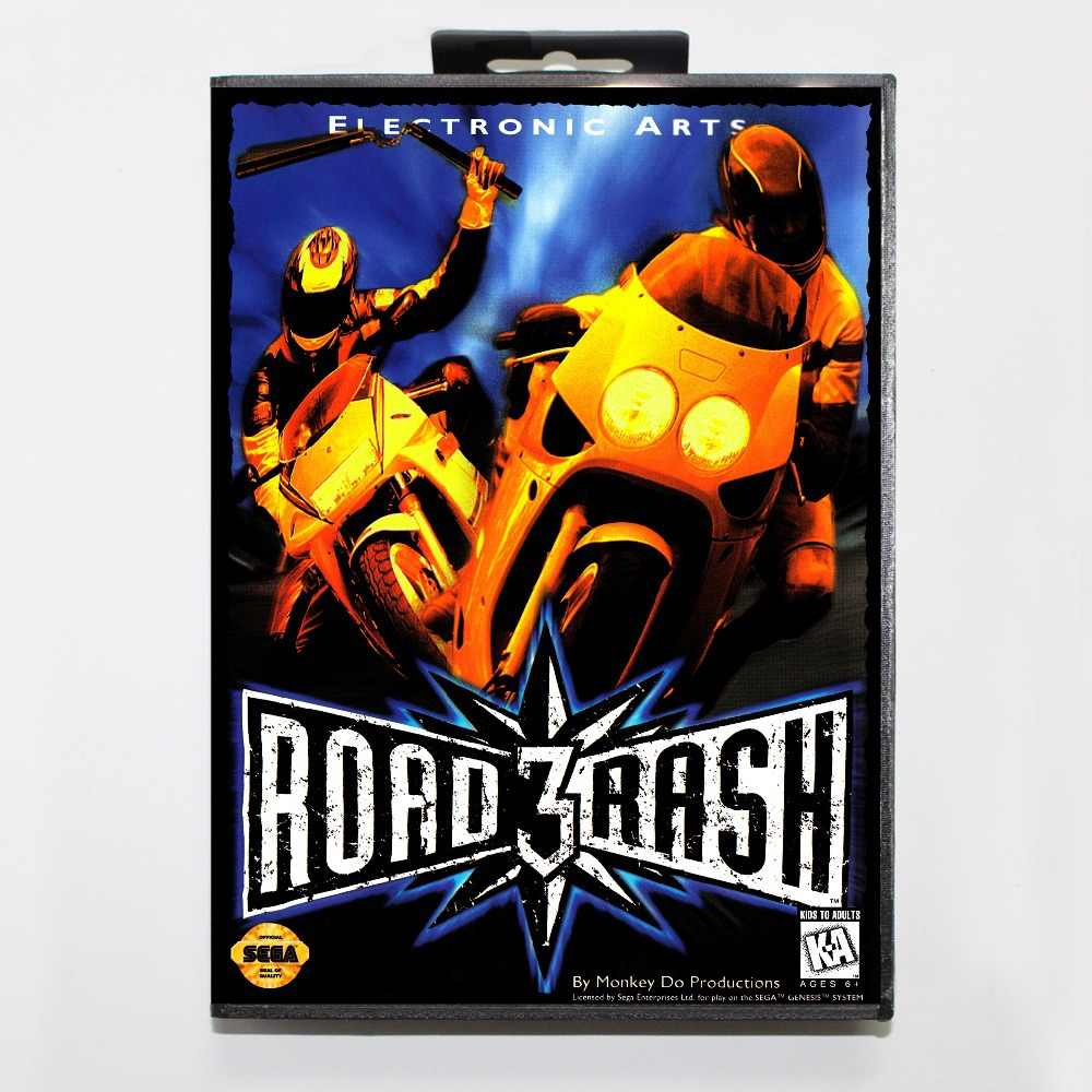 Road Rash 3 Tour De Force Game Cartridge 16 bit MD Game Card With Retail Box For Sega Mega Drive For Genesis