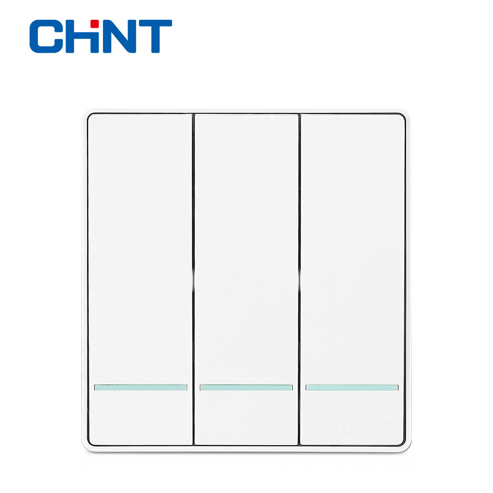 CHINT Custom Switch Plates Wall Switch Socket NEW2D Panel Three Gang Two Way 16A Steel Frame scinder switched socket package 15 steel frame two or three five hole electrical outlet wall switch panel switch