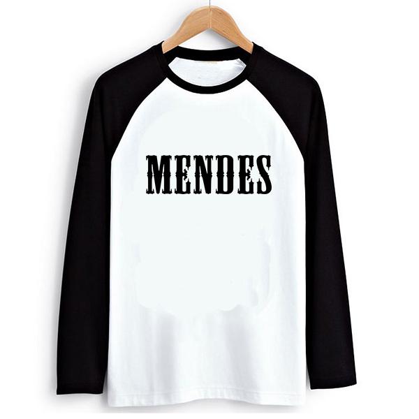 Estilo suelto Música Rock Shawn Mendes Mujeres PVC Impresión de la Letra de La Camiseta larga Para Mujer Camiseta de Manga Larga Camisetas Tee Ropa