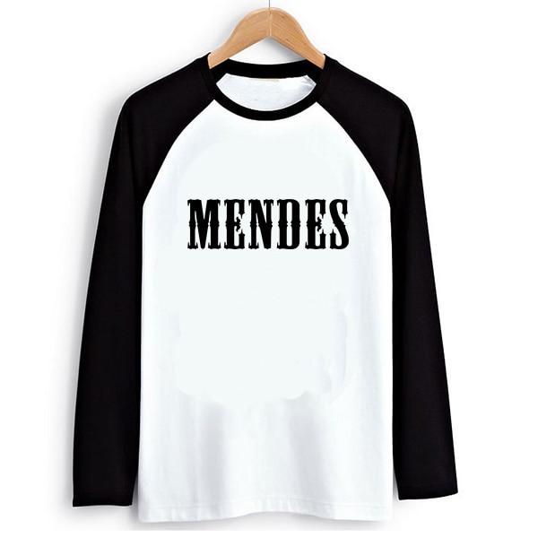 Loose Style Rock Music Shawn Mendes Women PVC Letter Print T-shirt Female Raglan Long Sleeve Tshirt T Shirts Tee Clothes