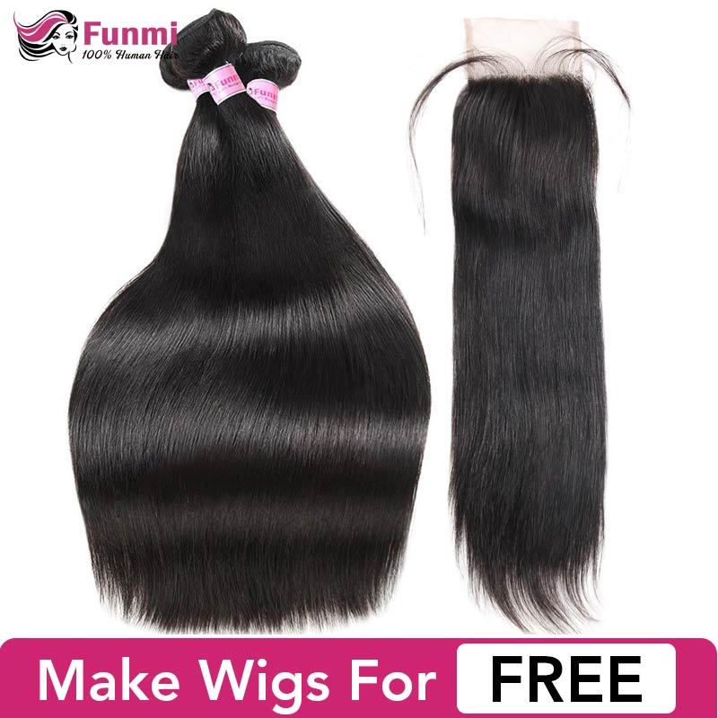 Funmi Brazilian Straight Hair Bundles With Closure Unprocessed Virgin Human Hair Bundles With Closure 3 Bundles With Closure