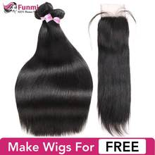 Funmi Brazilian Straight Hair Bundles with Closure Unprocessed Virgin Human Hair Bundles with Closure 3 Bundles with Closure(China)
