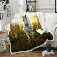 Cavalo andando 3d impressão sherpa cobertor cobertor colcha capa viagem criança tomada de cama veludo plush throw velo cobertor colcha|Cobertores| |  -