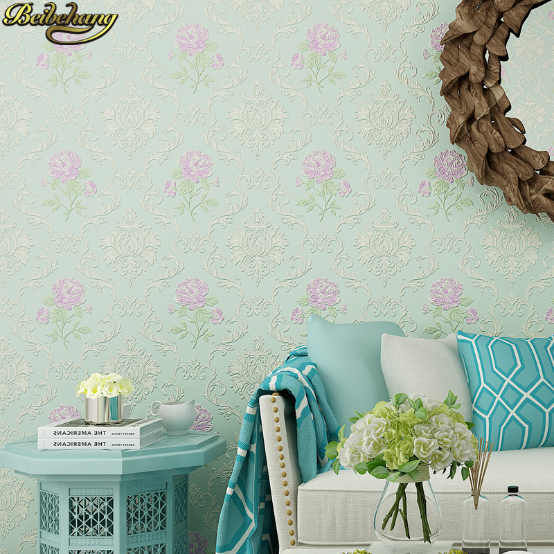beibehang European Luxury Flowers Stereo Damascus 3D Relief Mural Wall Paper Living Room Bedroom Wallpaper For Walls Green beibehang relief roses wallpaper for living room bedroom mural wall paper roll desktop tv background 3d wallpaper for walls 3 d