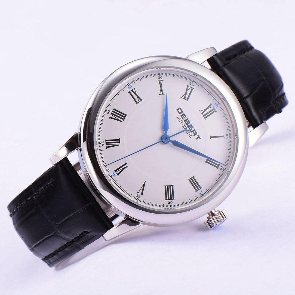 лучшая цена Polished 40mm Debert white dial blue hands Roman marks Automatic mens Watch
