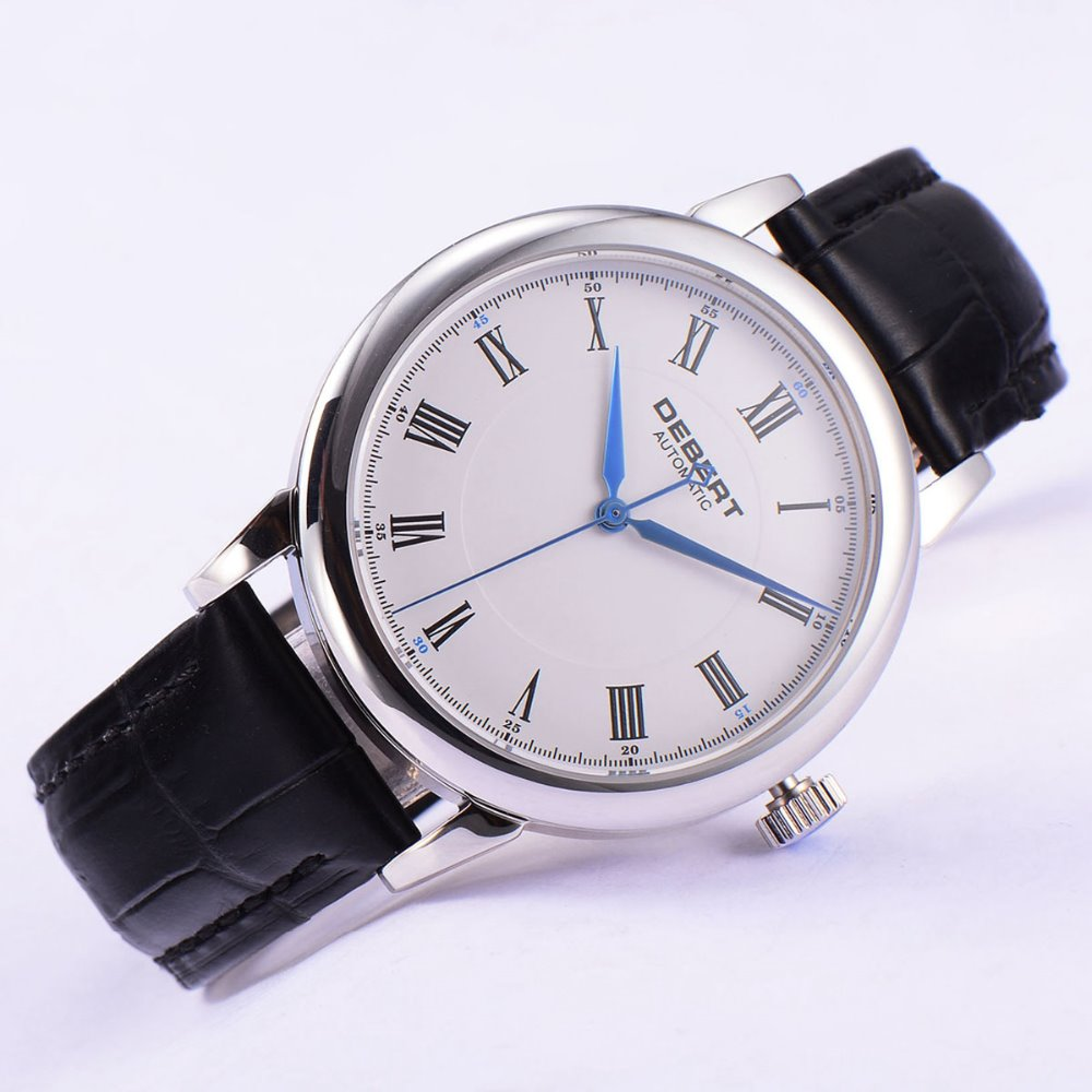 Polished 40mm Debert white dial blue hands Roman marks Automatic mens font b Watch b font