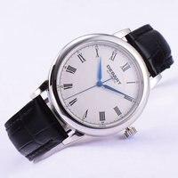 Pulido 40mm Debert esfera blanca azul manos Romana marcas Reloj Automático para hombre