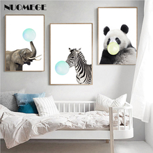 Nordic Wall Art Posters Prints Cute Animal  Zebra Elephant Panda Bubbles Canvas Painting Nursery Wall Pictures Kids Room Decor