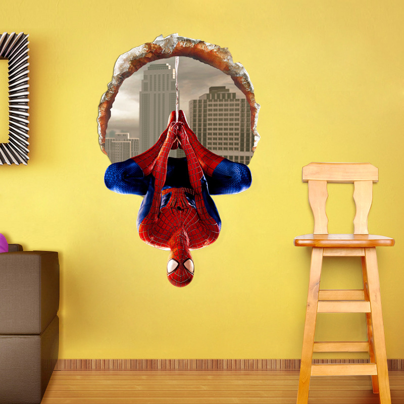 Chair Upside Down On Wall La Z Boy Chairs South Africa Spiderman Cartoon 3d Stickers Kids Bedroom Home Decor