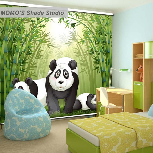 Simple MOMO Panda Roller Blinds Blackout Design Window Blinds Painting Curtains Roller Shades Thermal Fabric Custom Size Minimalist - Simple custom roller shades Ideas