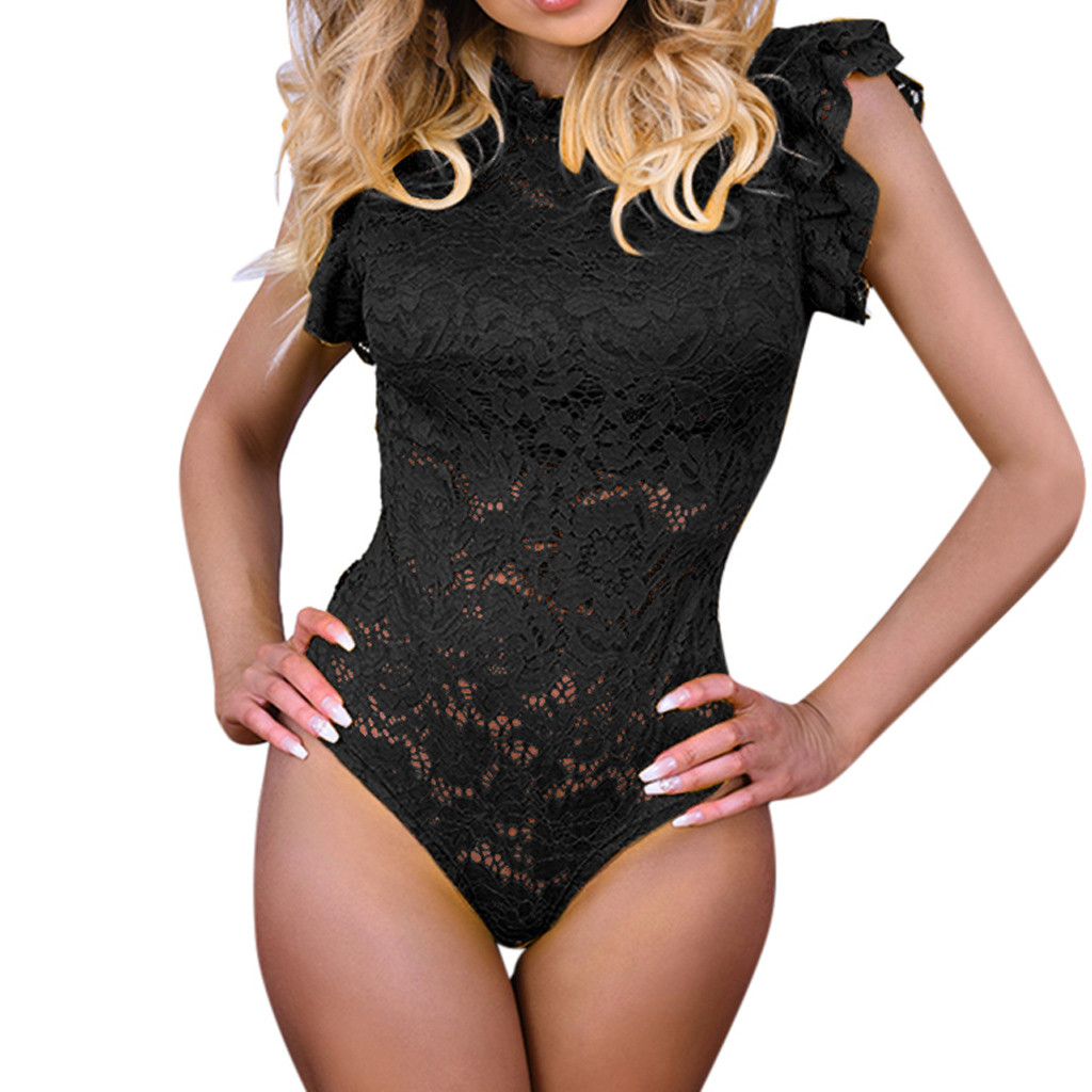 Summer Women Floral Lace Flare Sexy Party Bodysuit Solid Rompers Womens   Jumpsuit   Sleeveless Beach Slim   Jumpsuit   Flared Overalls